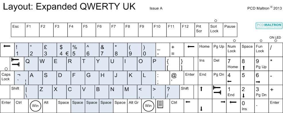 Maltron Expanded keyboard - QWERTY layout - UK