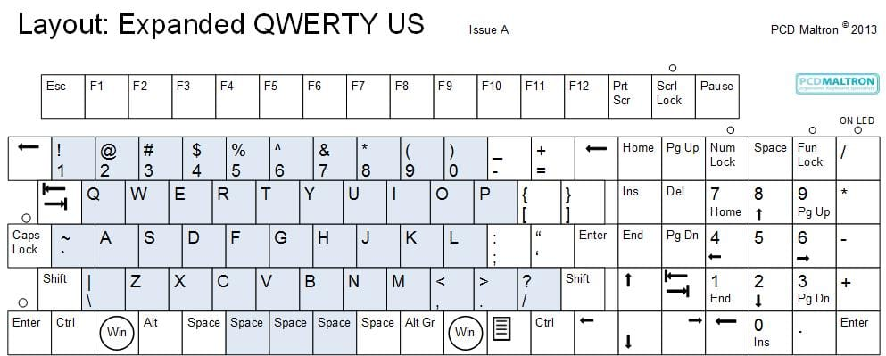 Maltron Expanded keyboard - QWERTY layout - USA