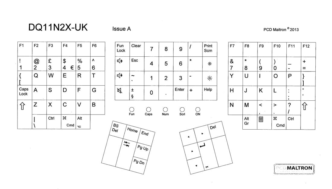 Dual hand 3D & 2D (flat) 90-series QWERTY layout - UK